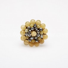 Round Stone Bead Ring (Yellow)